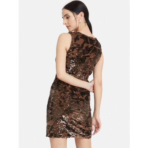 Kazo Women Brown Sequin Embellished Sheath Dress