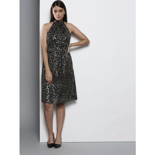 DOROTHY PERKINS Women Petite Black & Golden Printed A-Line Dress