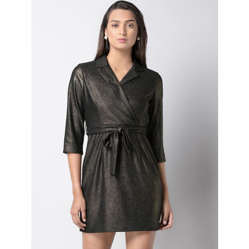 FabAlley Women Gold-Toned Solid Shirt Dress