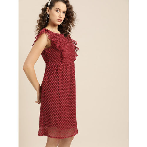 Moda Rapido Women Maroon Embroidered A-Line Dress