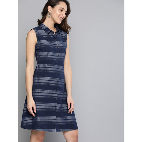 HERE&NOW Women Navy Blue Striped A-Line Dress