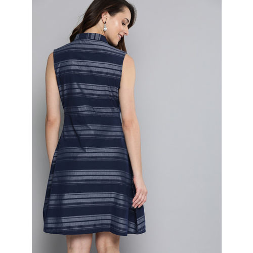 HERE&NOW Women Navy Blue Striped A-Line Dress