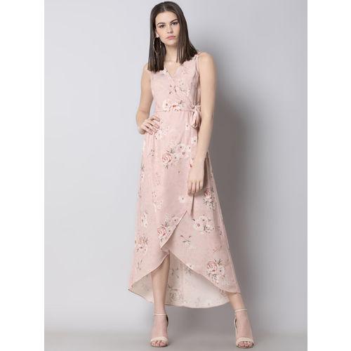 FabAlley Women Pink Printed Wrap Dress