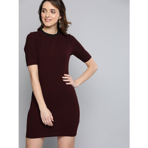 Mast & Harbour Women Burgundy Solid Sheath Dress