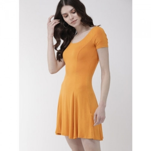 FOREVER 21 Women Mustard Yellow Solid Fit and Flare Dress
