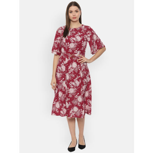 Van Heusen Woman Red & White Printed Fit and Flare Dress