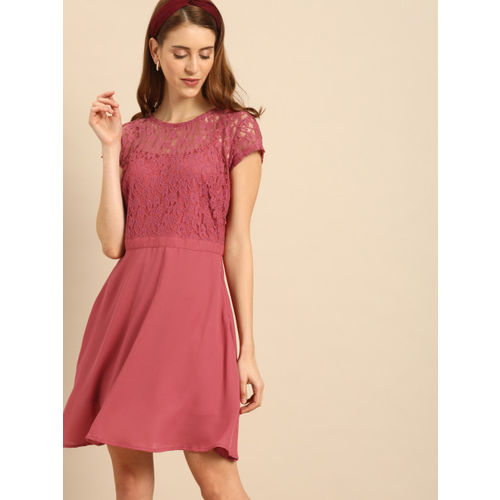 DressBerry Women Self Design Pink Fit and Flare Dress
