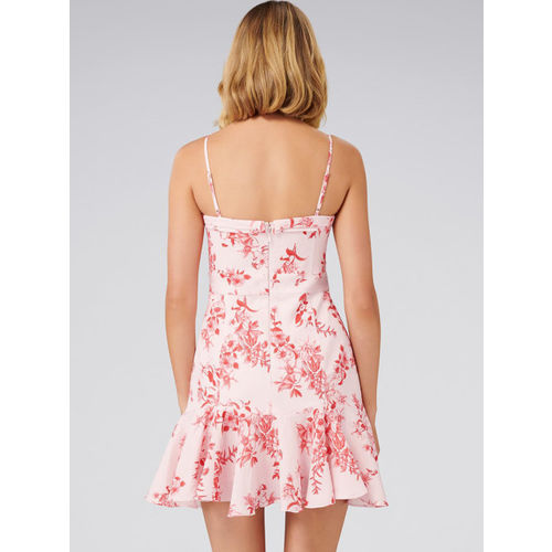Forever New Women Pink Printed Fit and Flare Dress