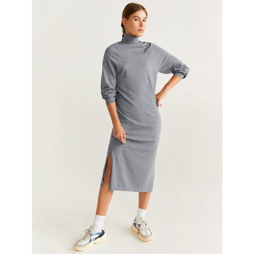 MANGO Women Grey Solid Sweater Dress