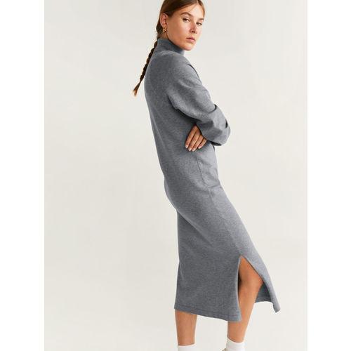 MANGO Women Grey Solid Sweater Dress