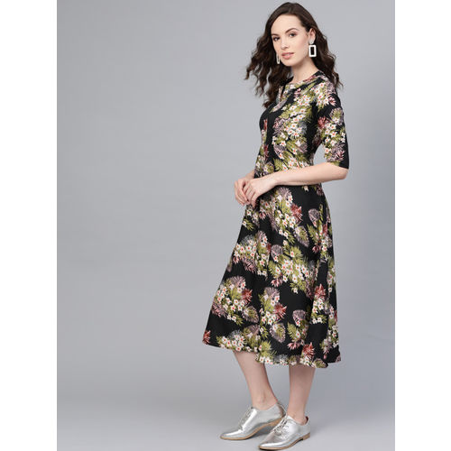 Myshka Women Black & Green Printed Midi A-Line Dress