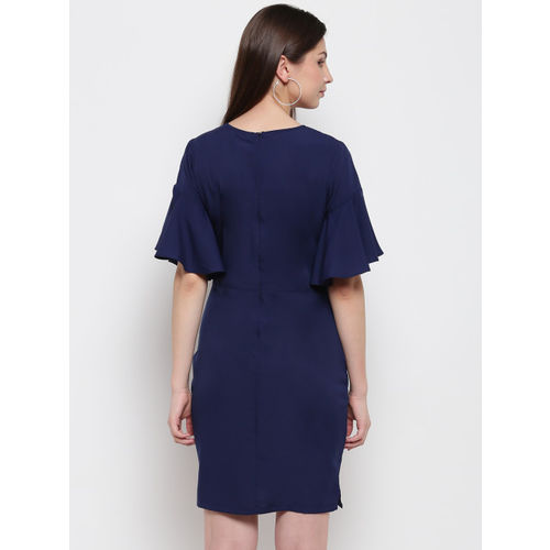 Karmic Vision Women Navy Blue Solid Sheath Dress