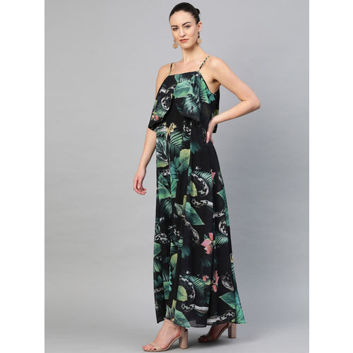 I AM FOR YOU Women Black & Green Printed Layered Maxi Dress