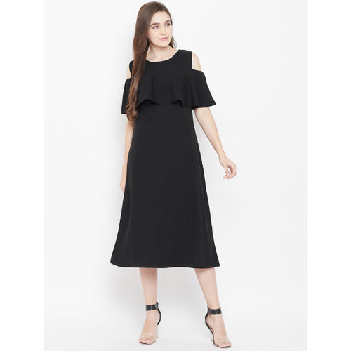 Cottinfab Women Black Cold-Shoulder Solid A-Line Dress