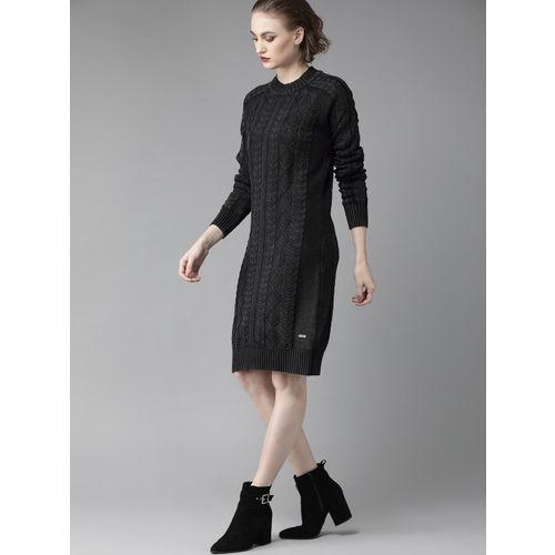 Roadster Women Black Self Design Sweater Dress