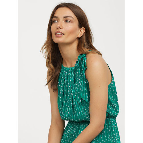 H&M Women Green Printed Long Dress With A Bow