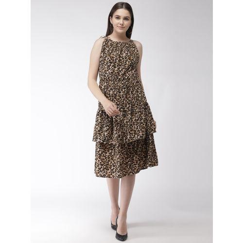 plusS Women Brown & Black Animal Print Layered A-Line Dress