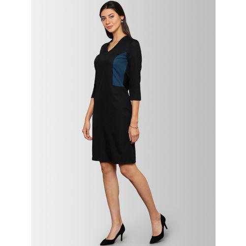 FableStreet Women Black & Blue Colourblocked Sheath Dress