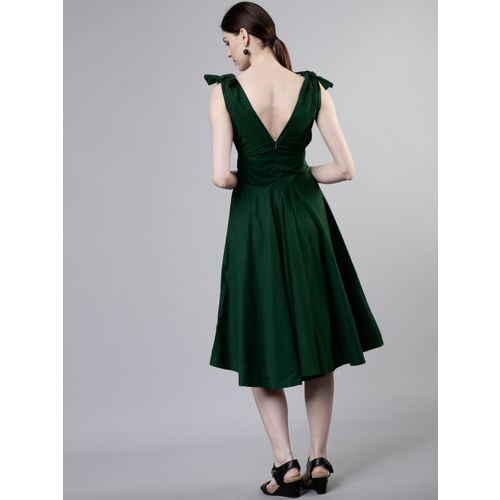 Tokyo Talkies Women Green Solid Fit and Flare Dress