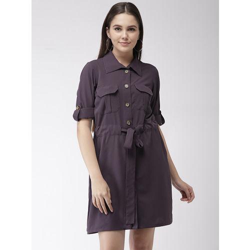 plusS Women Purple Solid Shirt Dress