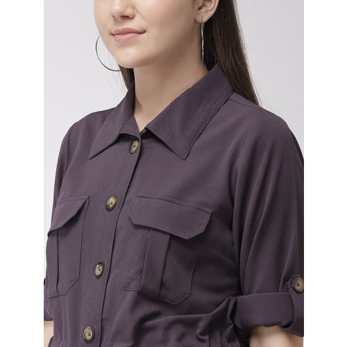 plusS Women Purple Solid Shirt Dress