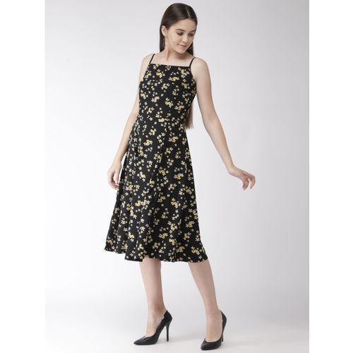 plusS Women Black & Yellow Printed A-Line Dress