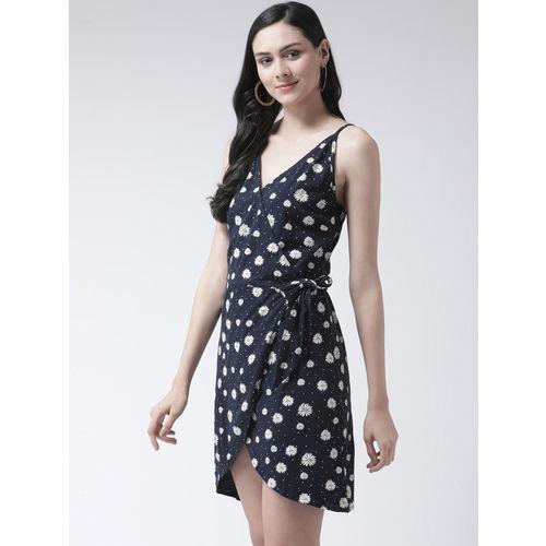 Leo Sansini Women Navy Blue & White Printed Wrap Dress