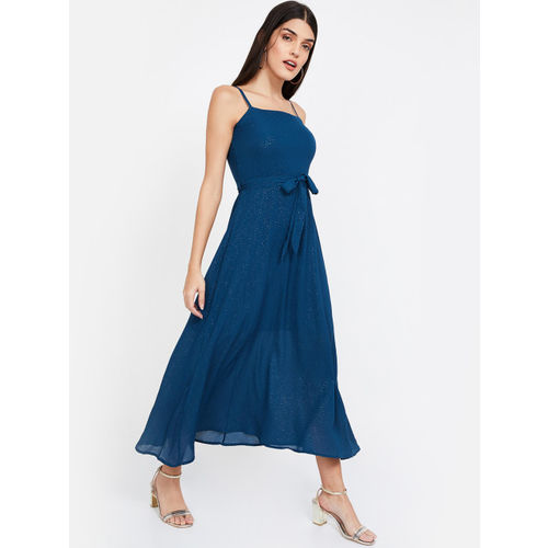CODE by Lifestyle Women Teal Blue Embellished Fit and Flare Dress