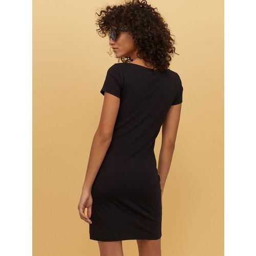 H&M Women Black Fitted Jersey Dress