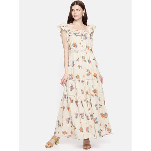 Vero Moda Women Off-White Printed A-Line Maxi Dress