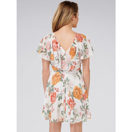 Forever New Women White Printed Fit and Flare Dress