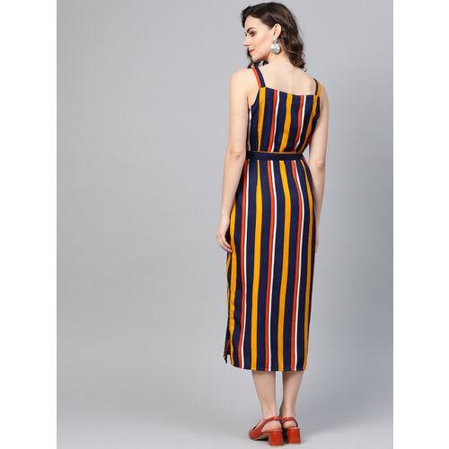 SIRIKIT Women Navy Blue & Yellow Striped A-Line Dress