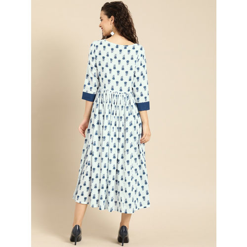 IMARA Women Off-White & Blue Printed Fit and Flare Dress