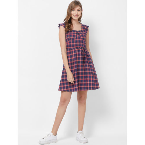 109F Women Navy Blue & Red Checked Fit and Flare Dress