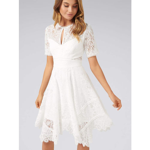 Forever New Women White Self Design Lace Fit and Flare Dress