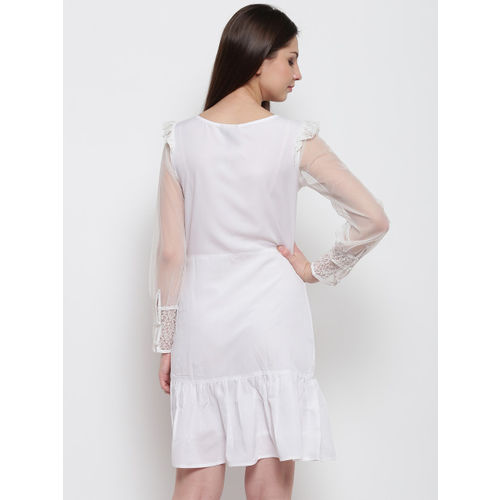 Karmic Vision Women White Solid A-Line Dress