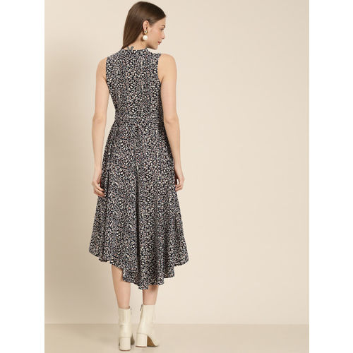 her by invictus Women Navy Blue & Cream-Coloured Printed Fit and Flare Dress