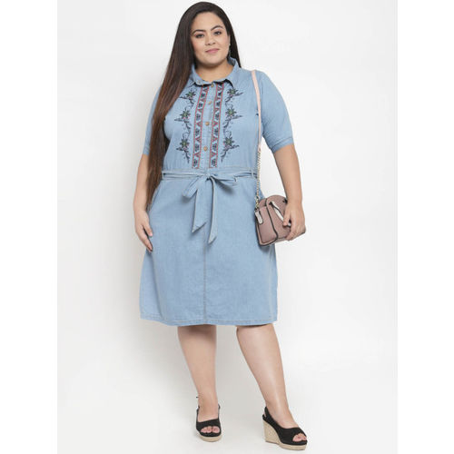 plusS Women Blue Printed Shirt Dress