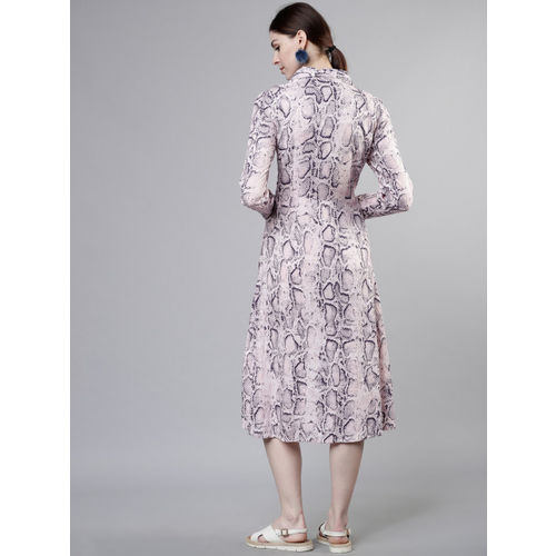 Tokyo Talkies Women Pink Printed A-Line Midi Dress