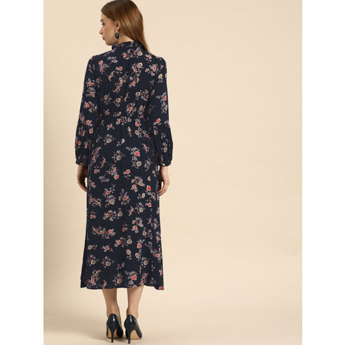 Ms.Taken Women Navy Blue & Off-White Printed A-Line Dress With Button Detailing