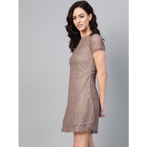 SIRIKIT Women Beige Self Design Lace A-Line Dress