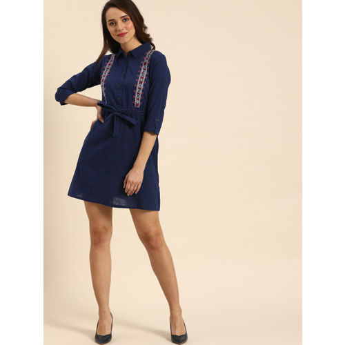 DressBerry Women Navy Blue Solid A-Line Dress With Embroidered Detailing