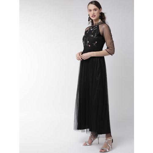 MISH Women Black Solid Net Maxi Dress