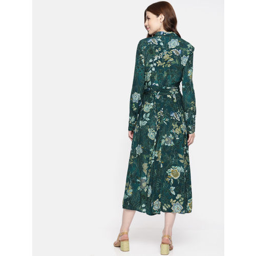 promod Women Green Printed Fit and Flare Dress