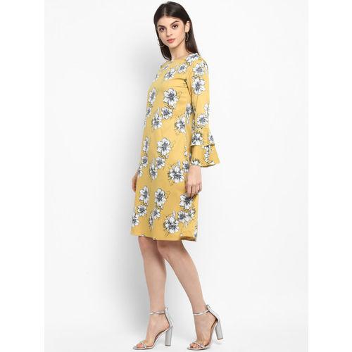 Lady Stark Women Yellow Printed A-line Dress