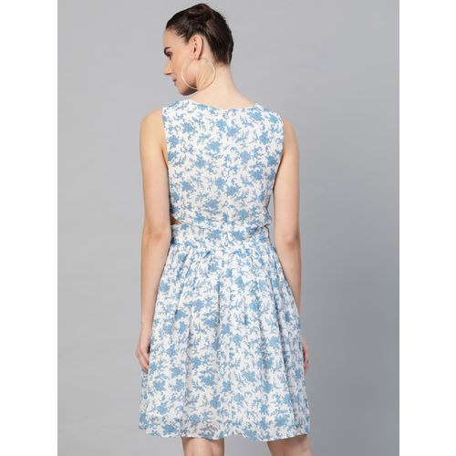 I AM FOR YOU Women White & Blue Floral Print Fit & Flare Dress