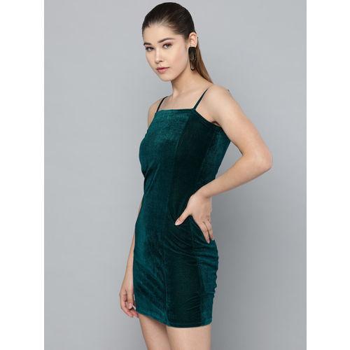 Trend Arrest Women Teal Green Solid Velvet Finish Mini Bodycon Dress