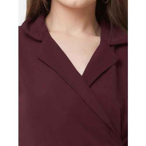 109F Women Maroon Printed Wrap Dress