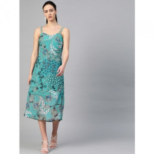 I AM FOR YOU Women Green Printed A-Line Dress