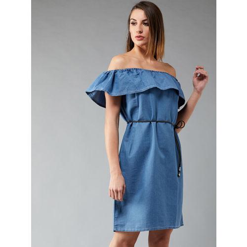 DOLCE CRUDO Women Blue Solid Denim A-Line Dress